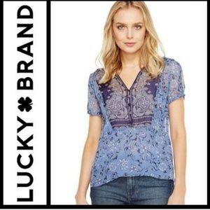 Lucky Brand sheer floral print blouse
